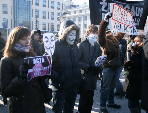 ACTA protests, Vilnius, Lithuania. 2012-02-11